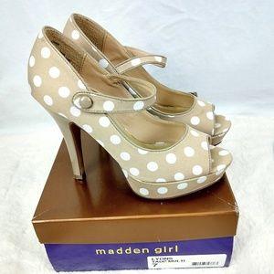 Madden Girl Tan & White Polka dots platforms
